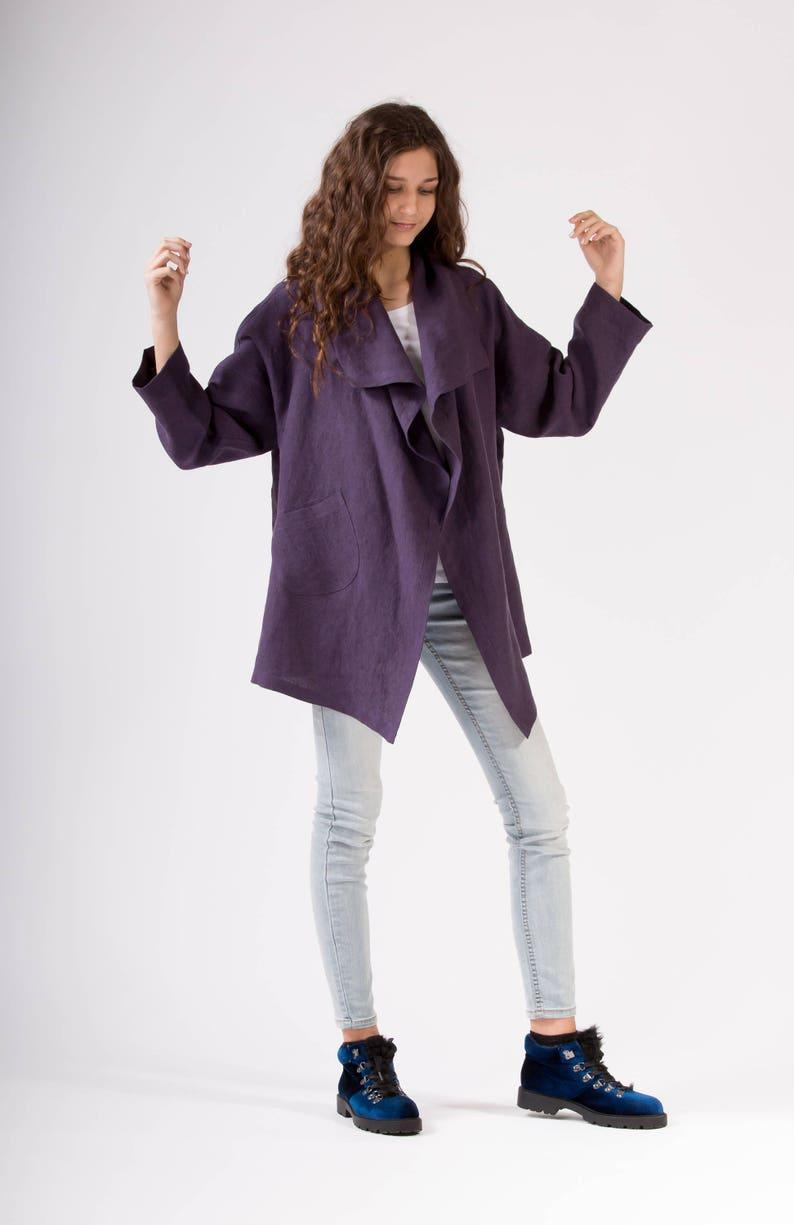 LINEN JACKET  color Dark Violet Japanese Jacket  Linen Coat Linen Blazer Elegant garment 100/% Linen