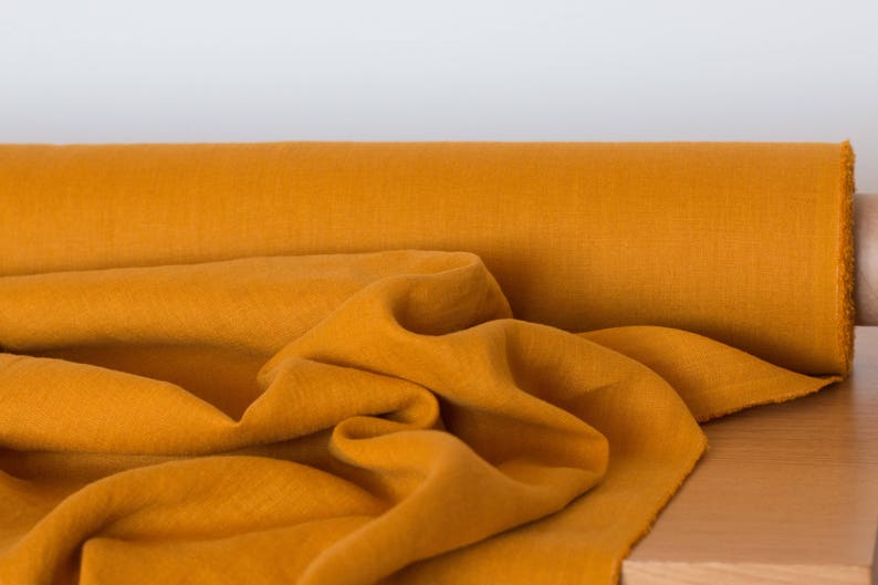LINEN FABRIC 205GSM Mustard Mustard Yellow medium weigh pure 100/% linen washed linen fabric Linen fabric by the metre Fashion fabric
