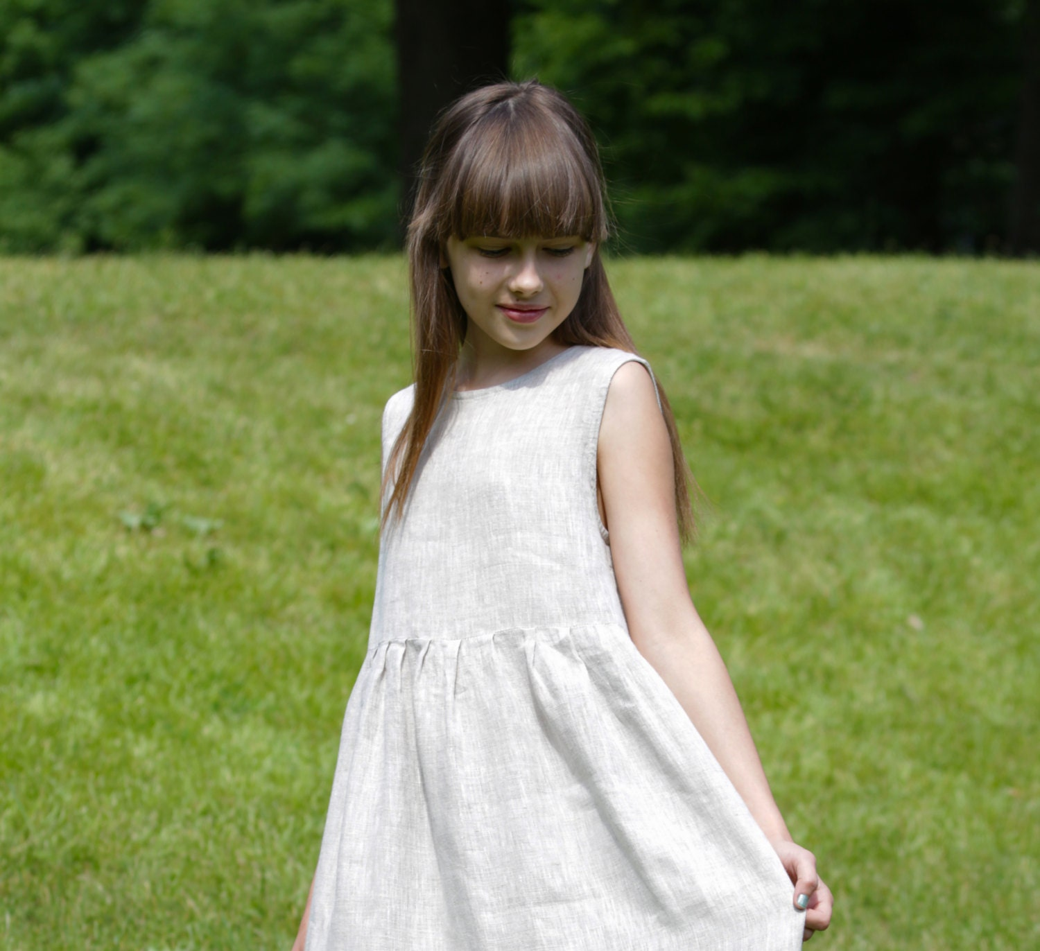 LINEN GIRLSu0027 DRESS Flower Girl Dresses Baby Girlsu0027 Clothing Dresses Weddings  100% Linen Girlu0027s Dress