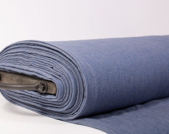Extra Wide 2.35 m / 2.56 yd pure 100% Linen Fabric,  chambray, Denim blue,  medium weight, washed, softened for jackets, covers, curtains