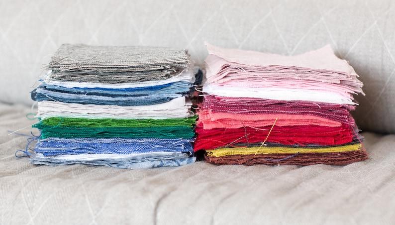 Linen fabrics swatches: Set 1 blue shades Set 2 pink shades. image 0
