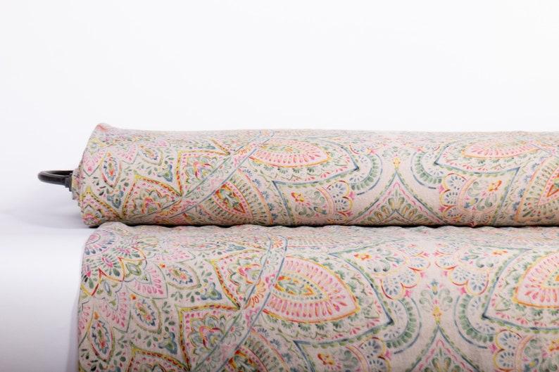 Pure 100% linen fabric MANDALA 1 Digital Printed base Not-dyed image 0