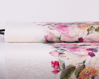 Pure 100% linen fabric Digitally Printed Roses, Edelweiss, Berries, Design: M2-0164-0100 medium weight, washed and softened linen fabric.