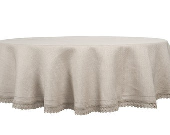 100 % LINEN TABLECLOTH ROUND (Oval) Tablecloth for Wedding