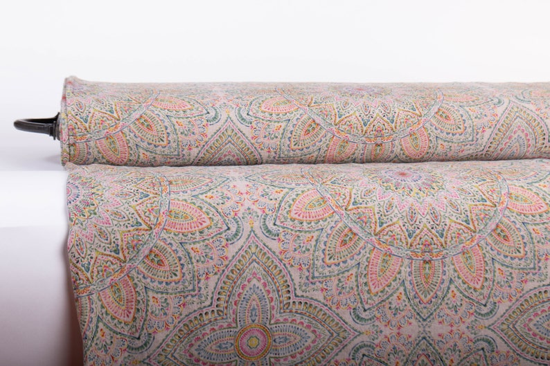 Pure 100% linen fabric MANDALA 2 Digital Print Base Not-dyed image 0