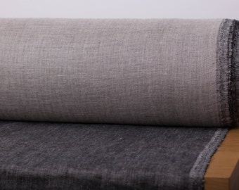 Pure linen fabric 240gsm Double-sided Linen fabric Black and not dyed  Moderately heavy weight washed fabric by meter