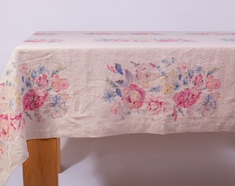 Pure 100% Linen Tablecloth Rectangle, Square Tablecloth Wedding, Rustic Tablecloth, Digital Printed Tablecloth;  Vintage Organic Tablecloth