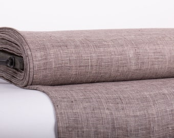 Pure 100% Linen Fabric Glen check, or Prince of Wales check, Brown Glen plaid Pure Linen fabric softened and washed Fabric