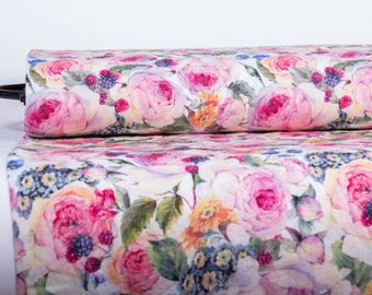 Pure Linen Fabric Roses Edelweiss Berries Digital Print Medium Weight  Washed Organic Clothing Sewing Craft Project Floral Fabric MP 536-01
