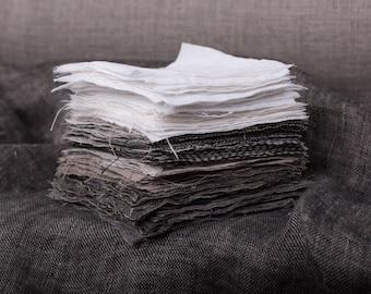Pure 100% linen fabric. Striped linen fabrics samples. Linen fabrics swatches