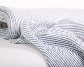 Pure 100% linen fabric Off-white blue striped dense, durable, light weight, washed Organic fabric for clothes, wedding arch, garland, masks