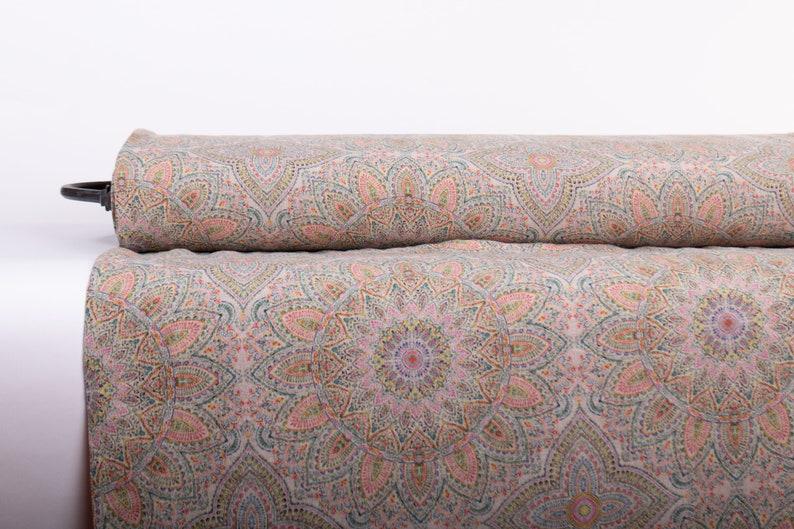 Pure 100% linen fabric MANDALA 3 Digital Print Base Not-dyed image 0