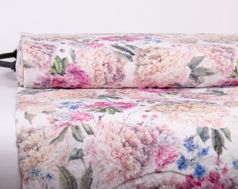 Pure 100% linen fabric. Exclusive digitally printed Peonies, Azaleas Design: M2-0161-0100 Medium weight, washed and softened linen fabric.