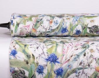 Pure 100% Linen Fabric WONDERFUL WORLD Digitally Printed Base Off-White Medium Weight Washed Not-Translucent Durable Organic M2 0199-0156
