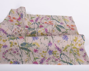 Linen Placemats Digital Printed FLOWERS FIESTA Mitered Corner Placemats Table Decoration,  Placemats Cloth Rectangular Handcrafted in Europe