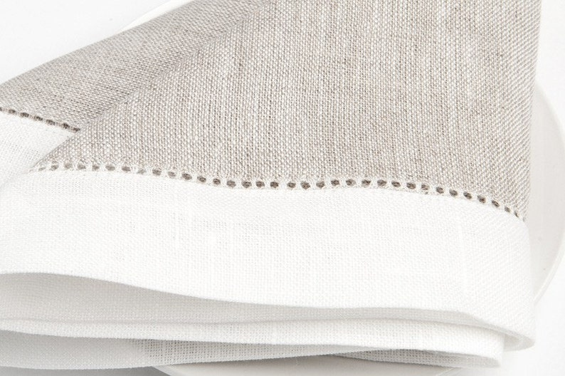 100 /% LINEN NAPKINS SET Of 6 Grey with off-white borders Luxury napkins Wedding napkins  Rustic linen napkinsMedium-weigh linen napkins