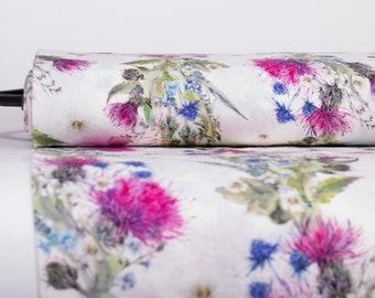 Pure 100% linen fabric digital print SUMMER JOKE base off-white medium weight washed softened linen fabric Fast Safe Shipping via FedEx