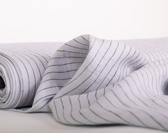 Pure 100% Linen Light Gray/Black  Striped Fabric. Medium weight Washed Dense Durable Non-transparent Organic Biologically Decay