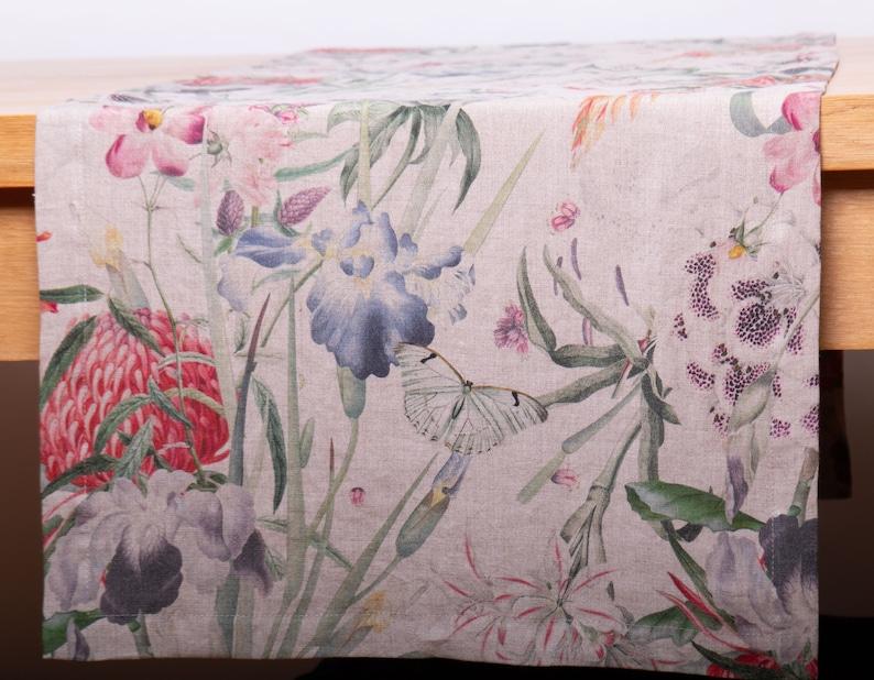 Linen Table Runner Digital Printed ENAMOR Custom Size Wedding image 0