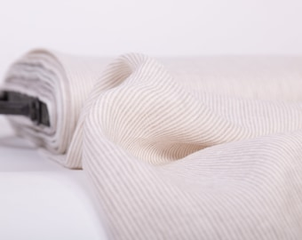 Pure Linen fabric Off-white narrow vertical striped linen fabric,  Pre-washed linen fabric, Organic linen fabric, Fabric by the yard