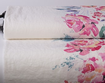 Pure 100% Linen Fabric WATERCOLOR ROSE Digital Medium Weight Pre-Washed Durable Organic Clothing Sewing Accessories Textile Curtains By Yard