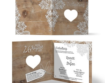 9fbea136f473 Laser cut wedding invitation cards Wedding Card Invitations-rustic with  white lace