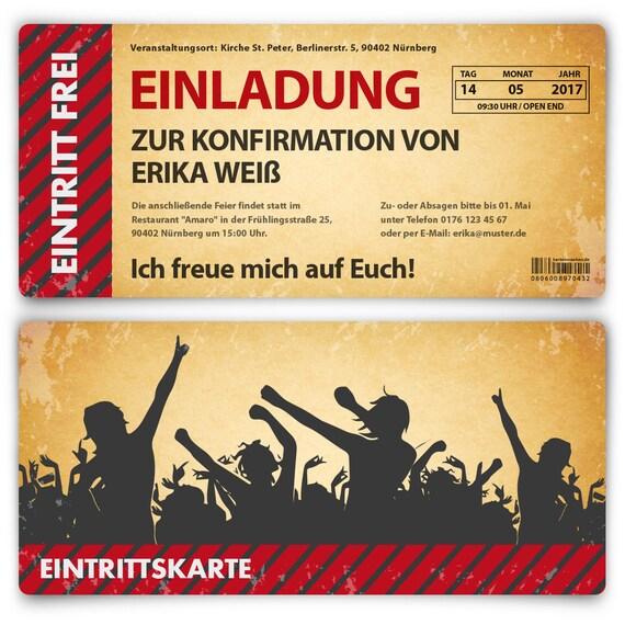 Konfirmation Einladungskarten - Vintage Eintrittskarten in Blau Konfirmationskarten Einladung 20 St/ück
