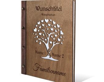 Personalized Pedigree Okoume Wood Family Book Format - Herzbaum