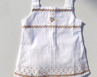 white hand embroidered dress and puffy panties/baby girl set in cotton/white embroidered dress for girl from 6 months to 4 years old