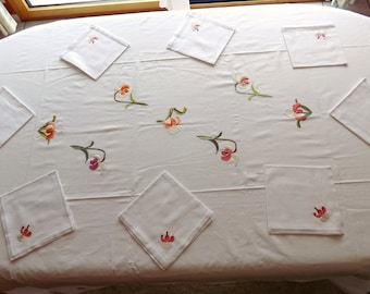 Nappede table napkins, white, cotton tablecloth, embroidered floral tablecloth, Orchid, rectangle tablecloth, tablecloth hand Christmas, handmade