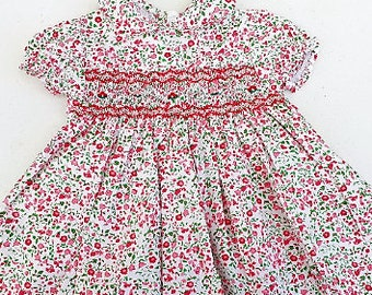baby girl flower dress/smock dress baby girl puff sleeves/liberty style cotton dress /baby girl clothes
