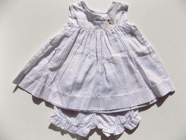 e0902fdbbb5b1 Robe bébé fillecotonà pois bleurobe sans manchesensemble