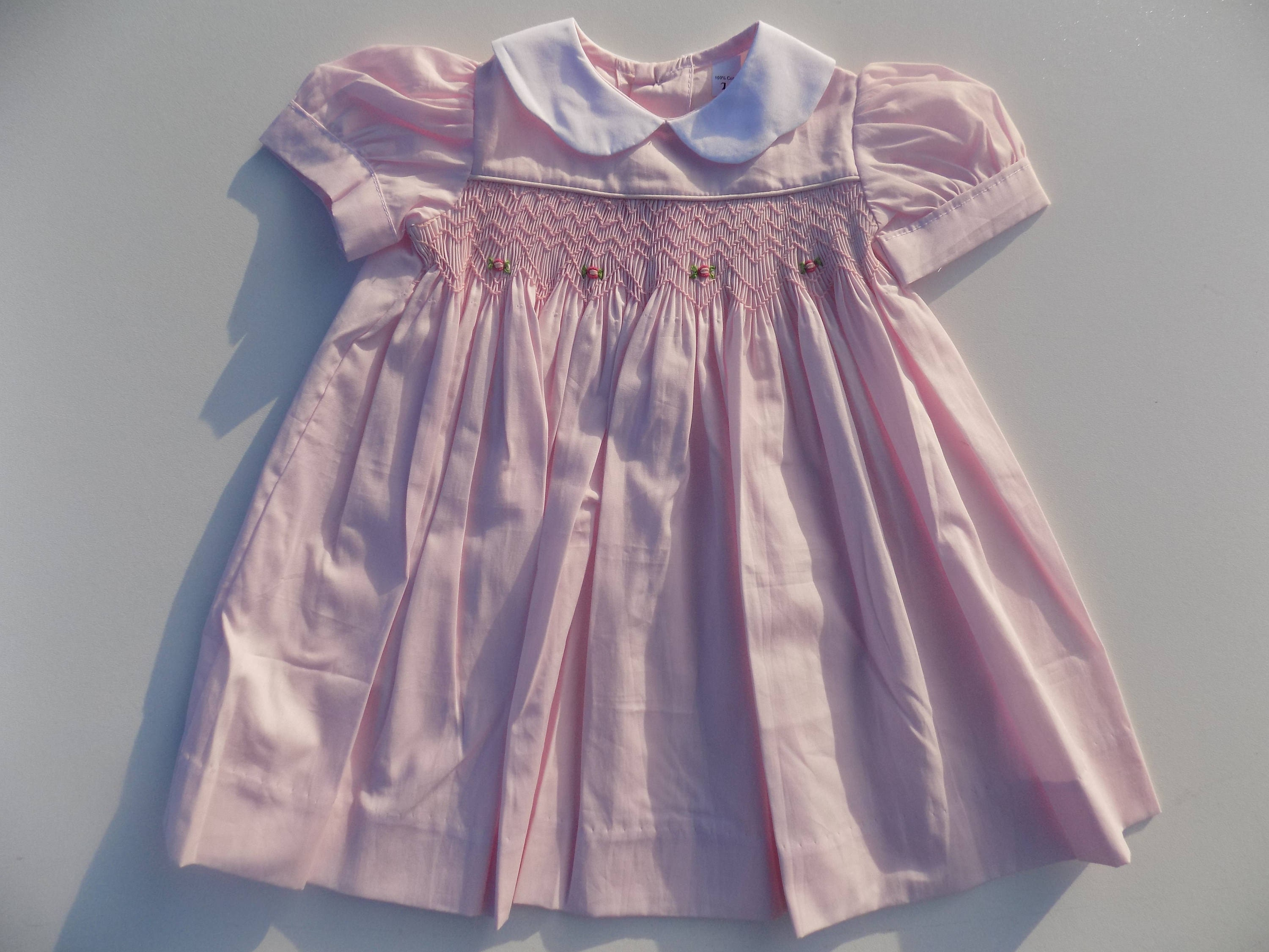 a643f2a3e20f6 Dresses smocked dress for girl, pink, 100% cotton dress, white collar,  puffed sleeves, pink, hand-embroidered smocked dress Christmas, Easter,  birthday, ...