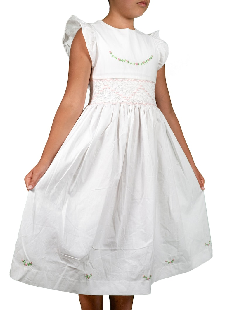white cotton girl dress ruffle sleeve smocks dress/white image 0