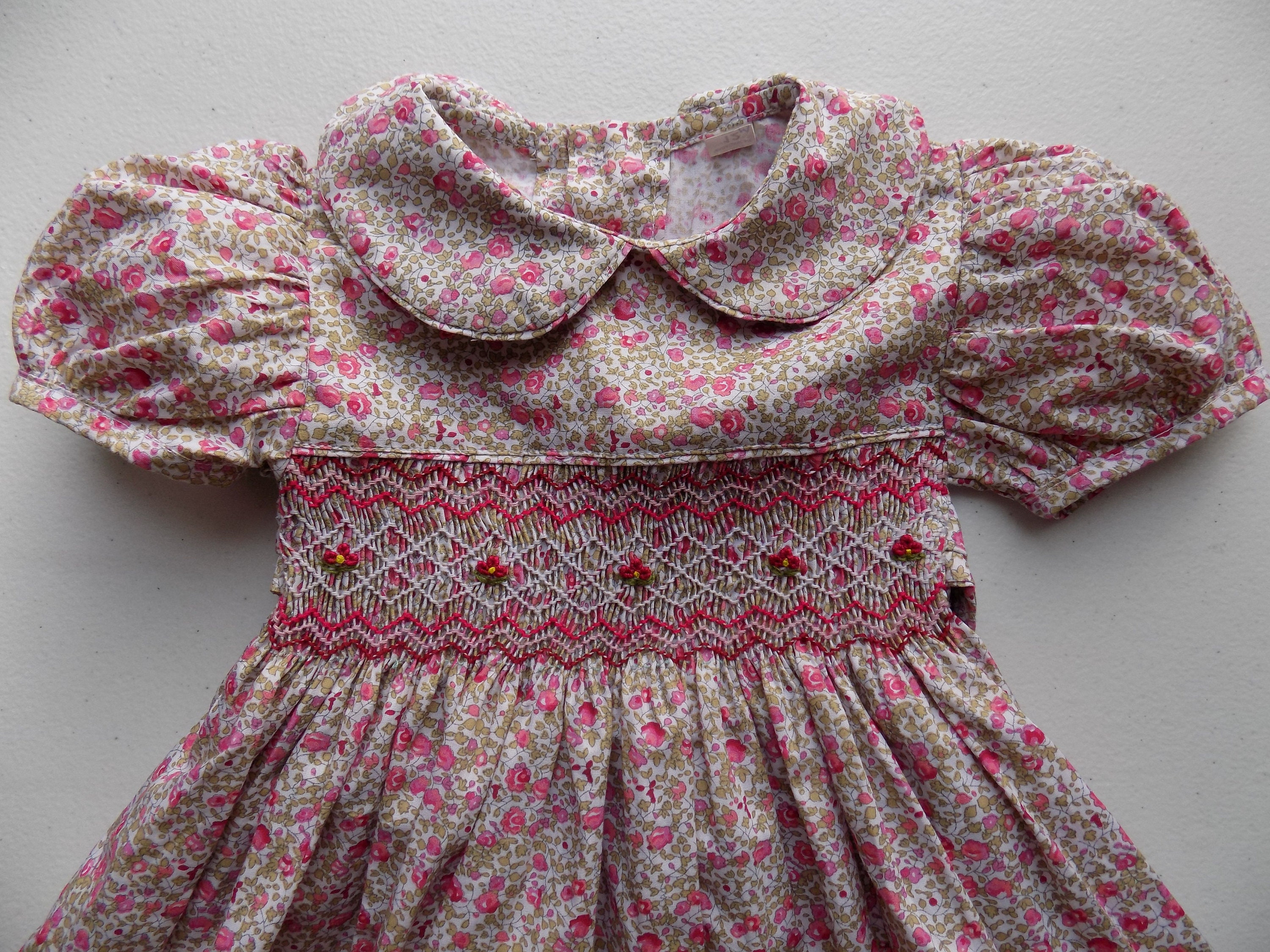00303a824 Liberty printed cotton dress baby girl/girl flower dress with smocking from  3 months to 12 months/2 to 12 years