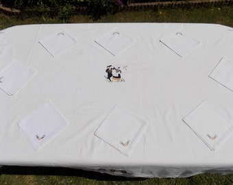 Table, tablecloth, tablecloth white linen, embroidered by hand, 100% thick cotton tablecloth, napkins, table cloth square, 6 and 8 covered