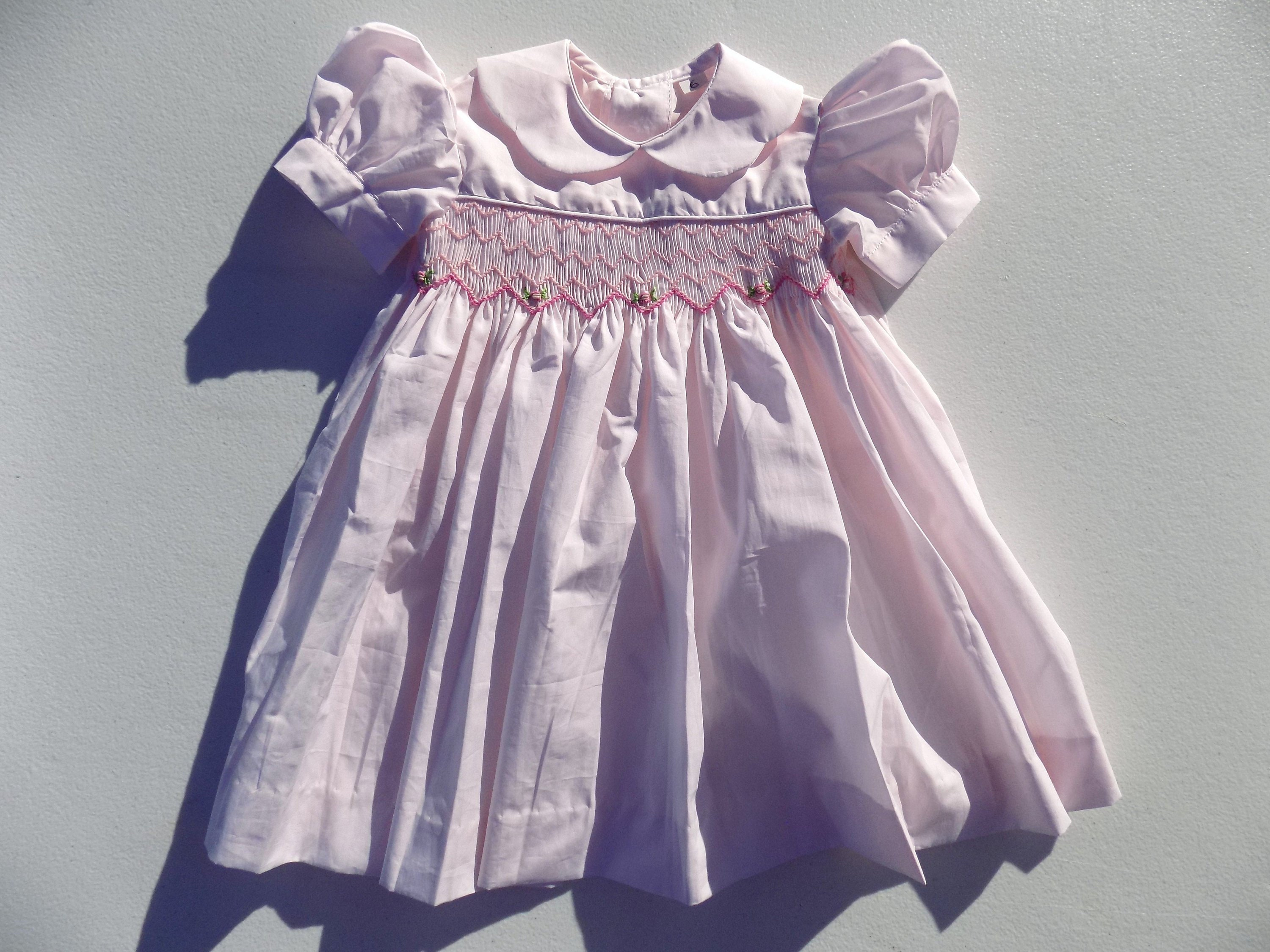 Hand Embroidered Dress Baby Girl Pink Cotton Ceremony Baptism Birthday Gift 6 9mois 9 12 Months