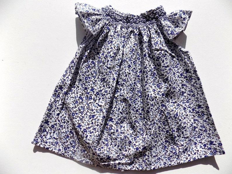 152647f13926d Ensemble bébé fille robe et bloomer liberty bleu-blanc de 3