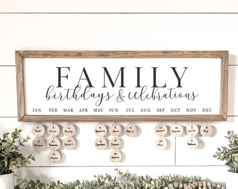 Family Birthday Board   Family Birthdays and Celebrations Board Sign   Birthday Board   Family Birthday Calendar Sign   Family Sign
