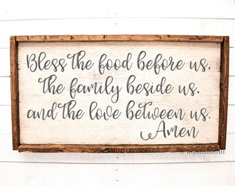 Bless The Food Before Us The Family Beside Us And The Love Between Us Amen  | Framed Rustic Wood Sign | Dining Room Sign | Rustic Kitchen Art