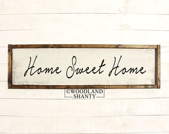 Home Sweet Home   Home Sweet Home Sign   Home Sweet Home Wood Sign   Wood Framed Rustic Vintage Farmhouse Collage Wall Art Home Decor USA