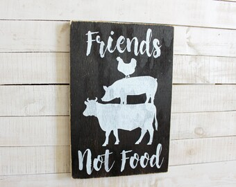 Friends Not Food | Vegan Kitchen Decor | Vegan Sign | Vegetarian Kitchen Decor | Vegetarian Sign | Vegan Restaurant Decor | Vegetarian Sign