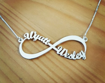 5a032511615c 2 Name 14k White Gold Infinity Necklace Real Gold Infinity Name Necklace  Infinity  Love Necklace  Custom Made