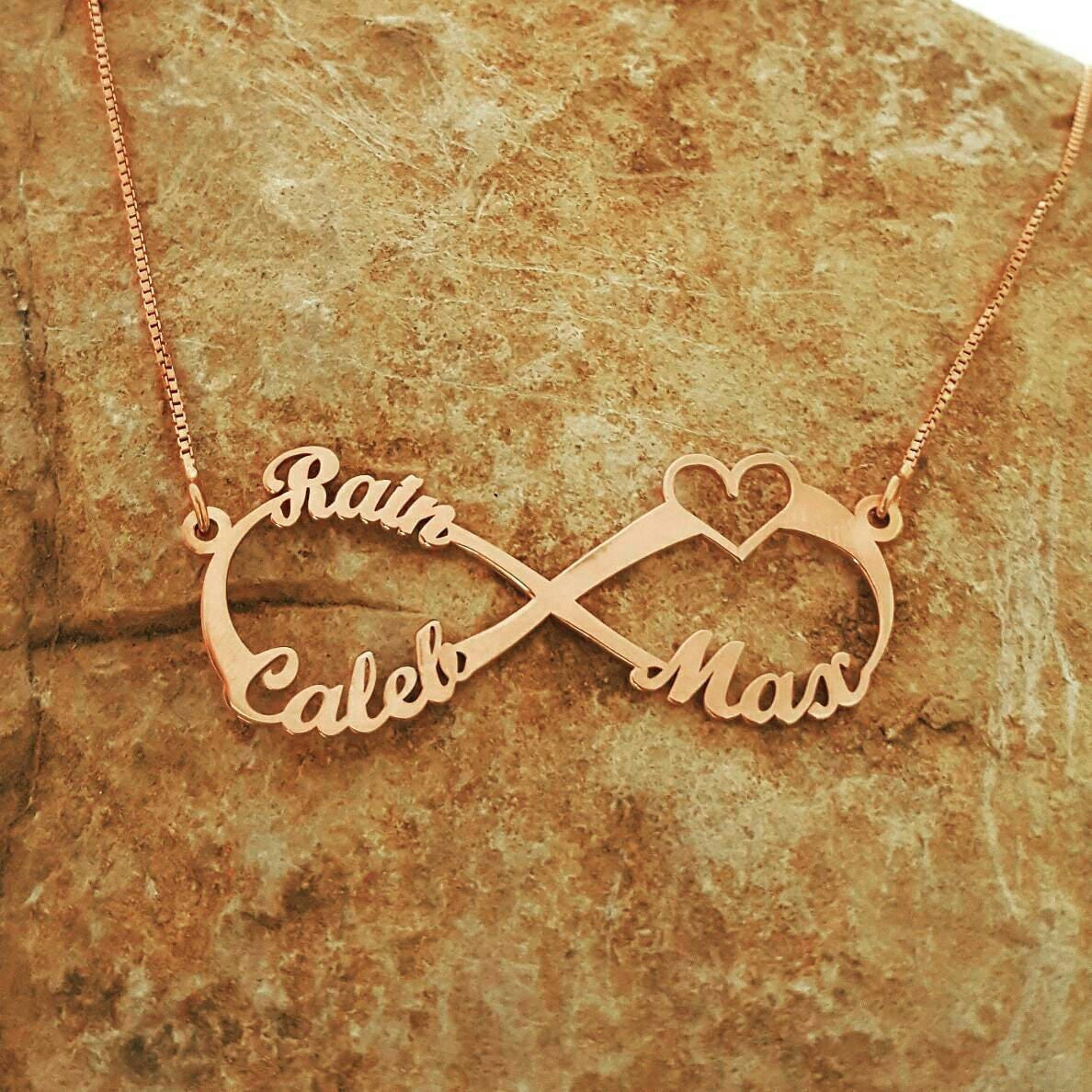 d372124fc2efa 3 Name Rose Gold Infinity Necklace Singh for Infinity Forever Symbol  nameplate Rose Gold Infinity Style Necklace For Mother Day Gift Sale!