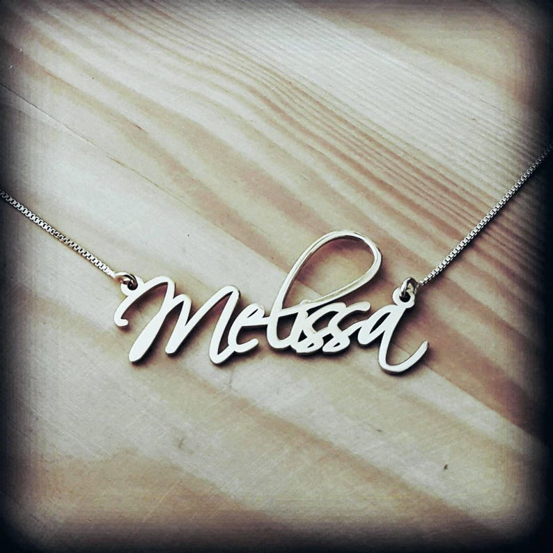469e779caf884 Silver Name Necklace ORDER ANY NAME Necklace Silver Handwriting Necklace  Signature Necklace Celebrity's Name Necklace Melissa Name