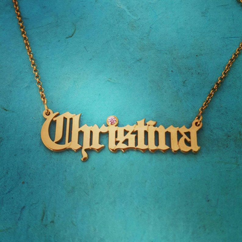 18k Gold plated ANY Name Necklace Gothic Name Necklace  Personalized Jewelry Games of Thrones Pendant Old English font Name Necklace