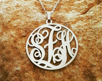 Solid 14k White Gold Monogram Pendant / Monogram necklace / Monogrammed / 14k White Gold chain / Black Friday and cyber Monday Sale!!!