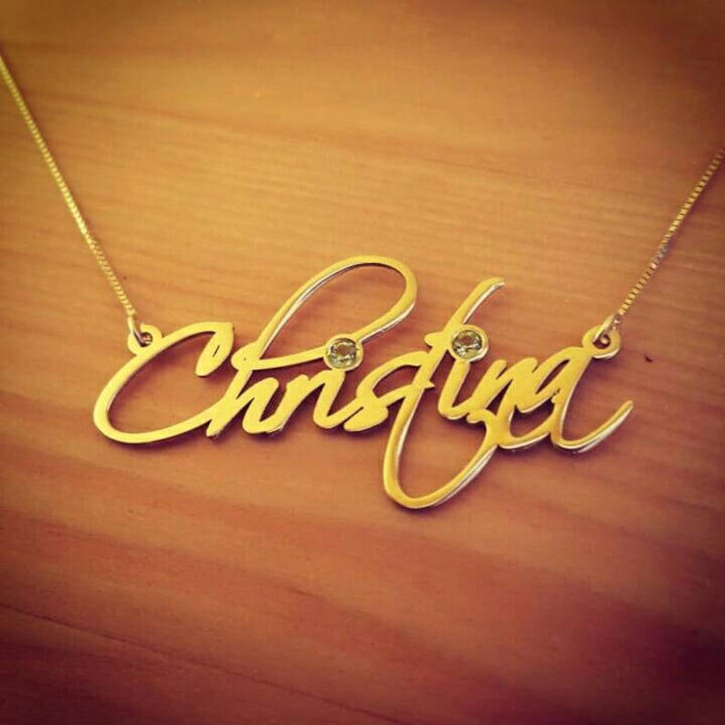 Nameplate neckless in Gold  Signature Name Necklace Birthstone Gold Name Necklace With My Name 14k Gold Name Necklace Special Sale!