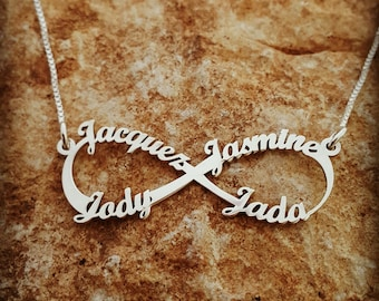 Personalized Infinity necklace 4 name necklace, family necklace Infinity 4 name necklace Children pendant mother child necklace monogram