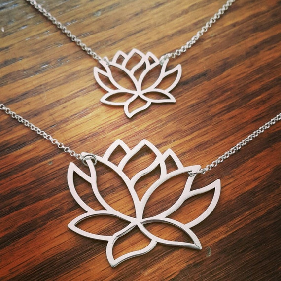 Large Silver Lotus Flower Buddhism Lotus Necklace Etsy